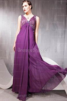 V-neck  purple beading evening dress