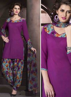 VIOLET COLOR FAUX CREPE PRINT WORK PATIALA SALWAR KAMEEZ Buy Now : http://bit.ly/1Nd4V6d Price : Rs. 523/- Free Shipping in India #SalwarKameez   #PatialaSuits   #SemistitchedSuits