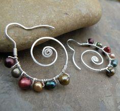 fun wire and pearl earrings