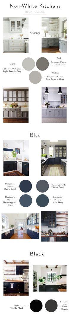 Non-White Kitchen Paint Color. Non-White Kitchen Paint Color Suggestions. Non-White Kitchen Paint Color Ideas. Interior Exterior, Interior Design, Gray Interior, French Interior, Kitchen Interior, Apartment Kitchen, Kitchen Decor, Kitchen Furniture, Studio Interior