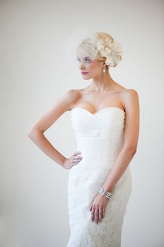 Love this with the birdcage veil too!
