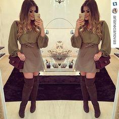 #Repost desse look lindo da @arianecanovas com nossa bata e saia verde militar!!! Amamos!!! ・・・ De ontem!  Look @doceflorsp Bota @myshoesriopreto • #lookdanoite #lookrodeio #ootn #selfie #blogtrendalert