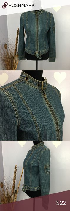 DKNY Women Denim Full Zipper Jacket Sz  M Rocking in this buckled jacket. Great condition. It has pocket on the sleeve Size label M Measurements below to give an idea of DKNY medium. Length: approx 21 Armpit across with closed front: 17.5 Sleeve: 24.5 