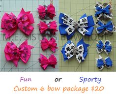 6 Bow Customize Package: $20.00 You customize with your 2 colors and 1 specialty grosgrain ribbon or licensed character grosgrain ribbon. includes: 1 Large bow, 1 Medium bow (upgrade your medium bow to another large bow for only a 1.50 more), 2 Smalls and 2 minis (using your 2 colors and 1 specialty ribbon). www.facebook.com/mesistersbowtique