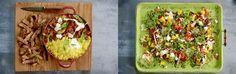 Калифорнийский освежающий салат, от любимого Джейми. Ингридиенты: Манго 1 шт, рис/киноа,зелень, жареные в гвоздике куриные грудки,йогурт, авокадо