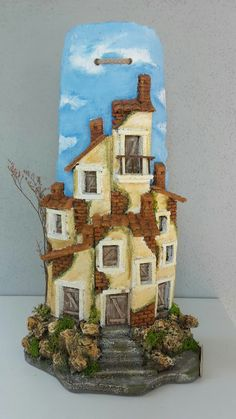 Concrete Forms, House Ornaments, Paper Crafts, Diy Crafts, Roof Tiles, Mini Things, Miniature Houses, Recycling, Cake Art