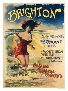 Brighton Vintage beach poster Art Nouveau #essenzadiriviera