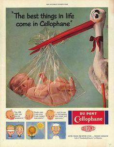 """Publicité Vintage pour du cellophane. """"Les meilleures choses dans la vie arrive dans du cellophane"""""""