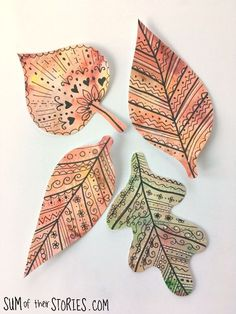Doodled Paper Autumn Leaves — Sum of their Stories Craft Blog Indoor Wreath, Pen Doodles, Craft Stash, Paper Leaves, White Gel Pen, Watercolor Effects, Leaf Shapes, Some Ideas, Gel Pens
