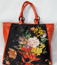 add68ce683b1 Black Orange Yellow Floral Fabric   Orange Vegan leather Oversize Hand Bag    703-Shoulder Bag-Purse-
