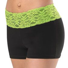 Bright neon lace pops on the waistband of these comfortable cotton dance shorts. #neon #lace