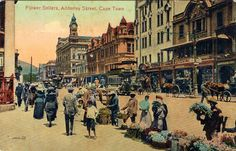 This postcard of Cape Town, South Africa dates from around Adderley Street is still Cape Town's main street, with banks, business cen. Cape Town South Africa, Beaches In The World, Most Beautiful Beaches, Old Postcards, Historical Pictures, Old Photos, Vintage Photos, Travel Posters, Travel