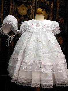 Will'beth Girls White Fancy Lace Heirloom Vintage 3 piece Dress Preemie Newborn 3 Months