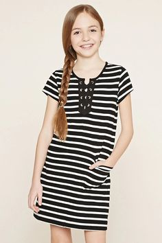 Forever 21 Girls - A striped knit dress with short sleeves, front patch pockets, and crisscross detailing at its ribbed round neckline. Teen Girl Outfits, Outfits For Teens, Cute Outfits, Teenage Outfits, Preteen Fashion, Kids Fashion Boy, Girls Sports Clothes, Clothes For Women, Outfits 2016