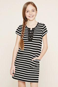 Girls Striped Dress (Kids) #f21kids