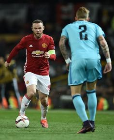 Man Utd 4 Feyenoord 0 in Nov 2016 at Old Trafford. Wayne Rooney looks to take on Rick Karsdorp in the Europa League Group A game. Man Utd Crest, Wayne Rooney, Manchester United Football, Old Trafford, Europa League, Soccer, Nov 2016, The Unit, Group