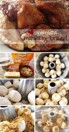 Overnight monkey bread recipe - frozen dinner rolls, butterscotch pudding, brown sugar and butter. Brunch Recipes, Breakfast Recipes, Brunch Food, Dessert Recipes, Frozen Dinner Rolls, Delicious Desserts, Yummy Food, Tasty, Cooking Recipes