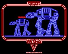 AT-AT Walkers in The Empire Strikes Back. | Community Post: 22 Animated Neon Posters From Classic Movies