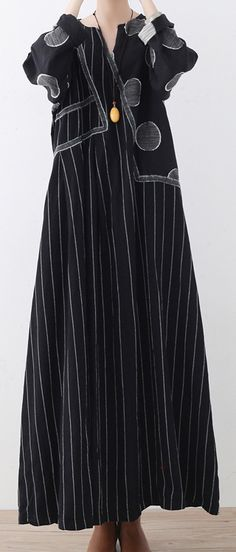 New black striped  linen dresses plus size patchwork prints traveling dress casual asymmetric gown2