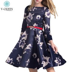 V-QUEEN 2016 Spring New Vintage Midi Dresses Long Sleeve O-Neck Floral Print Embroidery Knee-Length Casual Dress Female B1601050