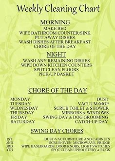 Another GREAT chore chart. I would love to be organized and disciplined enough to keep up with this daily/weekly cleaning chart (or one similar) to keep the house tidy with less stress. Diy Cleaning Products, Cleaning Solutions, Cleaning Hacks, Cleaning Schedules, Cleaning Checklist, Cleaning Routines, Chore Schedule, Cleaning Calendar, Zone Cleaning