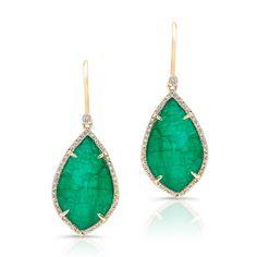 "14KT Yellow Gold Emerald Diamond Leaf Earrings<br /> Earrings measure approximately 1 1/2"" in length"