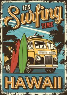 Descubre miles de vectores gratis y libres de derechos en Freepik Surf Vintage, Vintage Surfing, Retro Vintage, Vintage Colors, Vintage Cards, Poster Surf, Poster Wall, Poster Prints, Surf Posters