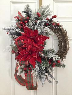 Christmas Wreath.  Poinsettia Wreath.  Elegant Christmas