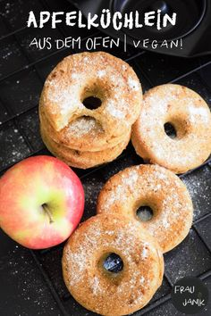 Breakfast Recipes Healthy apple donuts on the oven – no yeast dough, low fat and sugar & vegan …. Healthy Donuts, Healthy Vegan Desserts, Vegan Sweets, Healthy Breakfast Recipes, Healthy Snacks, Donuts Vegan, Donuts Donuts, Apple Breakfast, Apple Recipes