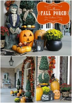 Southern Fall Porch: love the flowers in the cauldron.