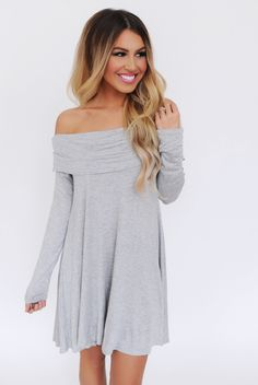 Heather Grey Fold Over Dress - Dottie Couture Boutique