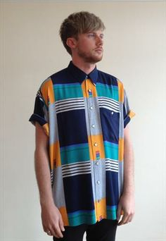 90's Oversized Abstract Stripe Shirt  from The Wonders of Vintage, I NEED THIS SO BADLY