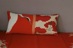 Cushion made from japanese kimono silk, vermilion red crane and karako doll, collection Carolina Breuer