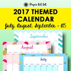 July Calendar Printable 2017 Filofax Printable Calendar 2017 Monthly Planner Pages A5 July August September Calendars A5 Printables https://www.etsy.com/listing/513592594