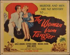 Image of actual vintage The Woman from Tangier movie poster Columbia Pictures, Mystery, Cinema, Books, Movie Posters, Films, Men, Image, Antiques
