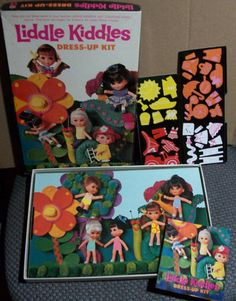 1968 Complete Liddle Kiddles Dress Up Kit Colorforms Play Set -- 1960s Vintage Toys Dolls Colorform Box Set