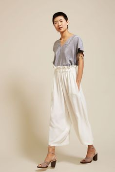 Online Basement Sale - No.6 Easy Pant in Ivory Rayon Crepe