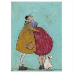 TOGETHER FOR A LONG LONG TIME -Sam Toft Image size: x Mount size: x Edition size: 395 Individually signed and numbered by Sam Presented in an off-white conservation quality mount with attractive V-groove detail Dachshund Art, Naive Art, Couple Art, Whimsical Art, Painting & Drawing, Pour Painting, Portrait Art, Rock Art, Collage Art
