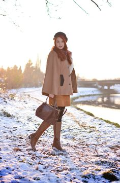 How to be chic this Winter? A cool camel cape will do the trick!