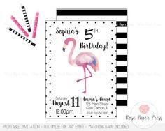 Flamingo Birthday Invitation | Custom Printable Invitation | Modern Flamingo Watercolor, Polka Dots, Black White Stripes by RosePaperPress on Etsy