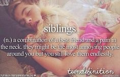Siblings (n,) A combination of a best friend and a pain in the neck, they might be the most annoying people around you but you still love them endlessly.