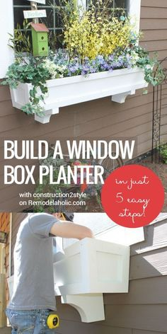 Build a window box planter in 5 easy steps! Add curb appeal and improve your home exterior with a beautiful window box and some greenery and flowers. Step by step from construction2style on Remodelaholic.com