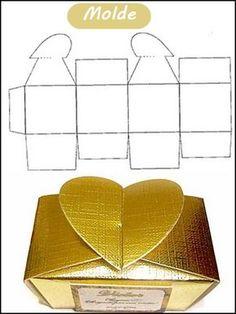 caixa de papel com coração molde ❤️vanuska❤️ Paper Gift Box, Diy Gift Box, Diy Box, Paper Gifts, Origami Paper Art, Diy Paper, Paper Box Template, Box Patterns, Box Design