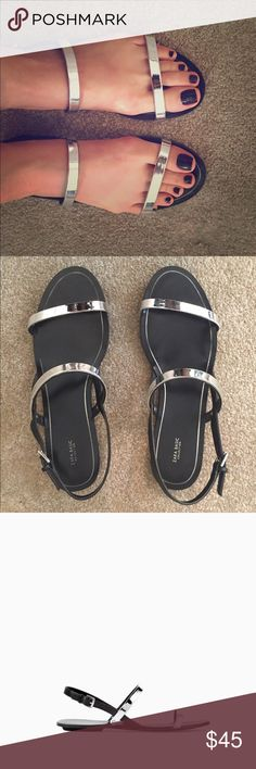 Metallic silver sandals. Zara sandals with silver metallic straps. No defects. Great condition. Kept in shoe dust bag. Happy Shopping! Zara Shoes Sandals