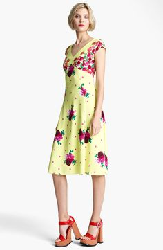 MARC JACOBS Dot & Floral Print Dress   Nordstrom