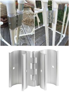 Now I can easily make doors and vents on my PVC greenhouse! Than… PVC Snap Hinge. Now I can easily make doors and vents on my PVC greenhouse! Thank You Circo Innovations!circoinnovati… Pin: 736 x 981 Pvc Pipe Crafts, Pvc Pipe Projects, Cool Diy Projects, Outdoor Projects, Home Projects, Backyard Projects, Welding Projects, Pvc Furniture, Garden Furniture