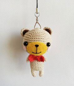 Crochet Bear Red Bow Tie, Teddy Bear Amigurumi Doll, Teddy Bear Charm, Bear…