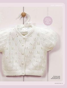 Short Sleeved Picot Detailed Baby Cardigan Pattern ~ Knitting Free - DIY and crafts Baby Cardigan Knitting Pattern Free, Baby Sweater Patterns, Knitted Baby Cardigan, Knit Baby Sweaters, Baby Patterns, Baby Knitting Patterns Free Cardigan, Bolero Pattern, Scarf Patterns, Crochet Jacket