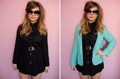 Virgos Lounge Erin Dress, Primark Blazer, Girlprops Half Tint Sunglasses.