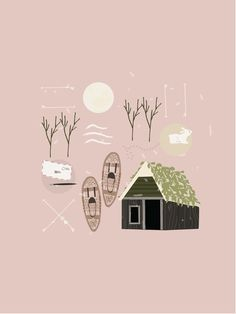 Winter cabin illustrator Electric Co 01- this gives me an idea for a canvas